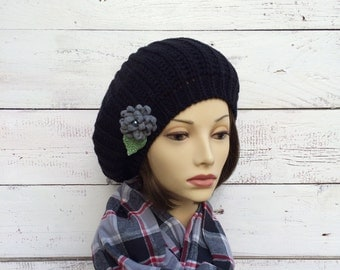 Knit Beret, Black Beret, Black Hat with Flower Pin, Knit Hat, Black Knit Hat with Flower, Winter Hat, Tam, Knitted Beret, Women Hat