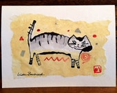 Original Art Greeting Card Primitive Cat