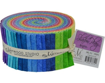 "Rainbow Brights Maywood Studio Shadow Play - Precut fabric strips 40 strips 2.5"" wide - 100% Cotton Fabric Jelly Roll Sushi Roll Strips"