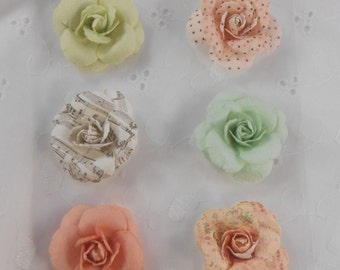 Paper Flowers Sweet Roses Light Pastel Solid Colors and patterns Set of 6 embellishments for scrapbooks
