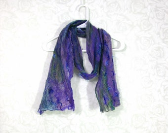 Cobweb Felted Scarf Wool Scarf Winter Scarf Fall Scarf Womens Scarf Lightweight Scarf Purple Scarf Purple Green Teal Blue Gift for Her OOAK