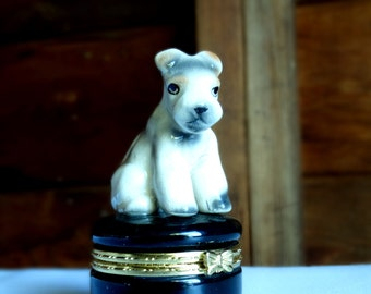 Vintage Miniature Ring or Trinket Box with a Terrier on Top