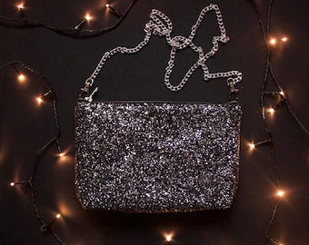 Monochrome glitter bag, clutch purse, evening bag