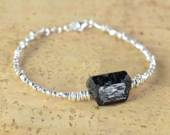 Black Tourmaline and sterling silver beads  bracelet