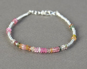 Tourmaline  discs and sterling silver beads  bracelet