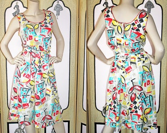 Vintage Sun Dress in Bright Colors and Abstract Shapes. Super Cute with Red Piping and Tie Belt. From Panorama. Medium to Large.