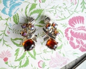 Vintage Amber Jelly  Rhinestone Clip On Earrings