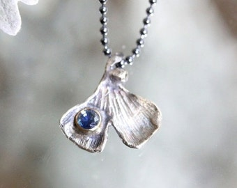 60% OFF - Ginkgo Leave Blue Sapphire Pendant, Recycled Sterling Silver Necklace, Gemstone, Birthstone, Statement Necklace - Ship In The Next