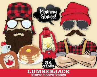 Lumberjack Photo Booth Props - Lumberjack Birthday Party, Lumberjack & Jill Wedding- Instant Download PDF 34 DIY Printable Props