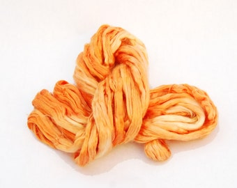 Mulberry Bombyx Silk Sliver Orange - 26 grams