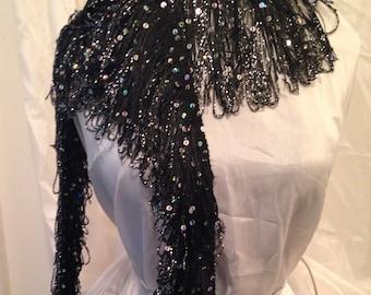 Black fringe sequined scarf