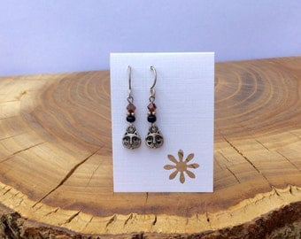 silver cat charms and brown crystal beads earrings
