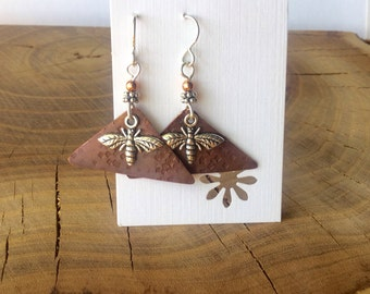 Repurposed roofing copper and silver bees