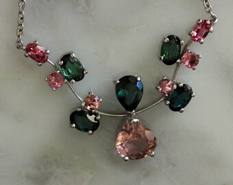 Tourmaline Necklace, Pink Tourmaline, Green Tourmaline, Multi Stone Necklace, White Gold Necklace, Stone Necklace, 1,800 Appraisal Included