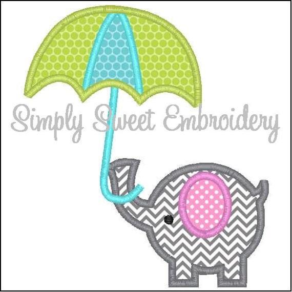 Elephant umbrella machine embroidery applique design