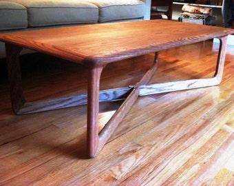 Mid Century Modern Lane X Base Oak Coffee Table, Retro 1960s, TheRetroLife