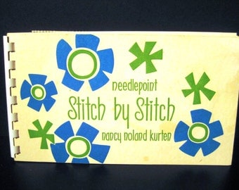 Retro Mod Groovy Needlepoint Stitch by Stitch mini booklet and kit, Nancy Noland Kurten, 1970s seventies 70s, TheRetroLife