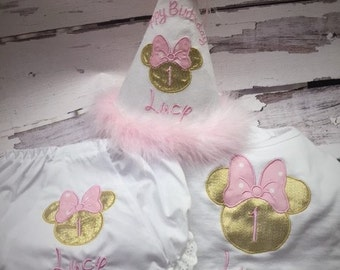 Pink and Gold Minnie Cake Smash Birthday Set