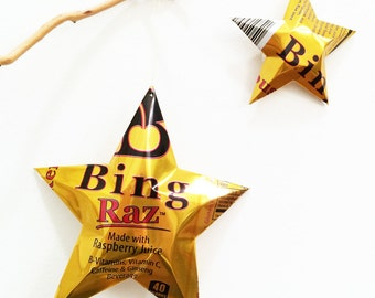 Petey's Bing Raz Energy Juice Drink with Caffeine, Star, Christmas Ornament, Aluminum Can Upcycled, Raspberry, Gold