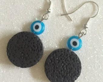 Lava Stone Earrings with Glass Evil Eye