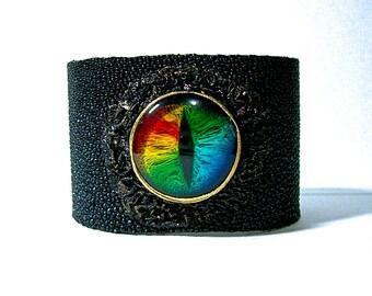 Genuine Stingray bracelet cuff.  Evil eye, snake eye, dragon eye adjustable black leather bracelet cuff.  Halloween cuff. LARP