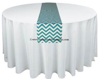 Turquoise Table Runner Wedding Table Centerpiece Chevron Turquoise Aqua Blue Stripe Table Runner