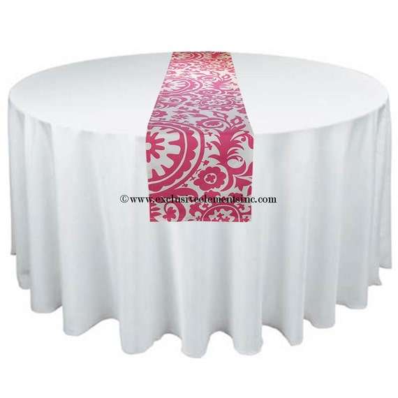 Fuchsia Hot Pink Table Runner Damask Runner Wedding Table Centerpiece Home Decor Floral Centerpiece Wedding Linens
