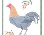 Delaware State Bird, Flower and Motto Cross Stitch Pattern PDF
