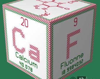 Periodic Element Caffeine 3D Ornament Cross Stitch Sewing Pattern PDF