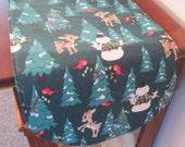 """Rudolph Table Runner 36"""" Reversible Christmas Table Runner Rudolph the Red Nosed Reindeer Table runner Rudolph and Clarice table runner"""
