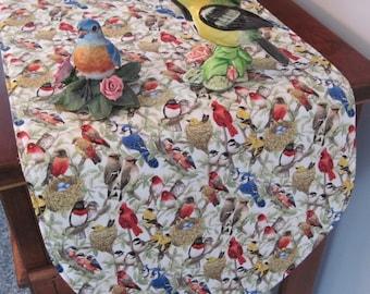 "Beautiful Birds Table Runner 36"" Reversible Sage Green Table Runner Cardinal Table Runner Blue Bird Table Runner Bird Lovers Table runner"