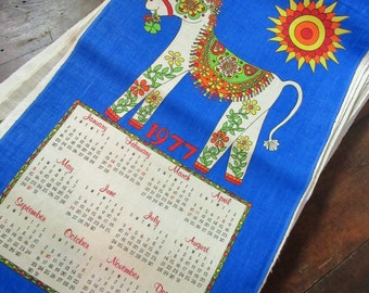 Vintage 1977 Linen Calendar Tea Towel