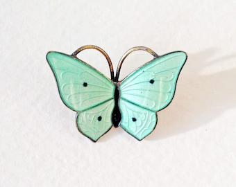Vintage water green enamel and sterling silver butterfly brooch - by Magnus Aase of Norway