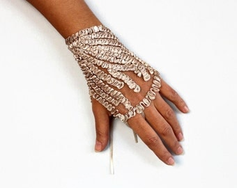 Bridesmaid Wrist Corsage, Evening Bridal Cuff, Beige Cream Hand Charm, Fingerless Glove, Bridesmaids Accessory Gift Satin Ribbon