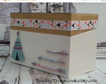 Fall Sale ARROW Recipe Box / Craft Box / Organizing Storage Box / Wood Trinket Memory Keepsake Box / Ivory Gold Black / Hippie Boho Tribal D