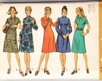 Vintage 1973 Simplicity 5092 Sewing Pattern Misses' Half-Size Dress with Two Necklines Size 20-1/2 Bust 43