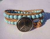 Turquoise Magnesite Beaded Leather Wrap Bracelet with Peace Sign Button