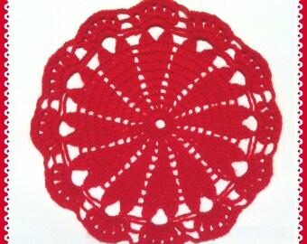 D-61.  DOILY crochet red , doily for wedding, Valentine's day, Christmas, crochet original, Home decor, crochet doily with heart