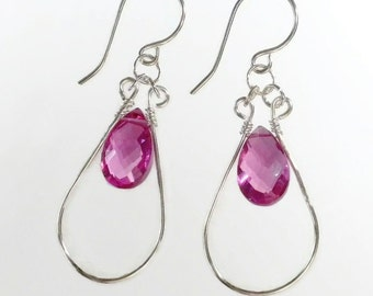 Pink Drop Earrings, Pink Briolette Earrings, Pink Hoop Earrings, Hot Pink Earrings Sterling Silver