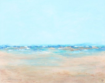 Large abstract beach painting, serene turquoise and blue water with sea foam, a large over the couch sized painting