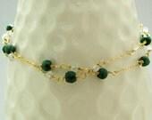 Emerald Moonstone Double Layer Bracelet, Gold Gemstone Bracelet, ccsdesigns01