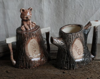 SuperCute n' Kitsch tree stumps honey bear creamer and sugar bowl, faux bois
