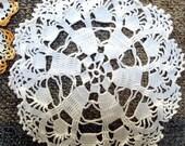 VALENTINES SALE Vintage Crochet Doilies, lot of 3, 1940,1950, Yellow white,Filet crochet Table decor, Home decor, Lace
