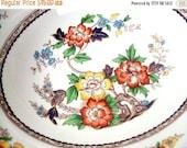 VALENTINES SALE Vintage Grindley England Serving Bowl, Porcelain, Marlborough Royal Petal Pattern, 1950s, Floral Transferware,Vegetable,Dish