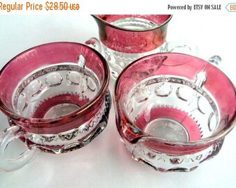 VALENTINES SALE Vintage Kings Crown Sugar and Creamer,Indiana Glass,Tiffin Glass,Cranberry Glass,Holiday,Collector, Dining Table, 3 Pieces,