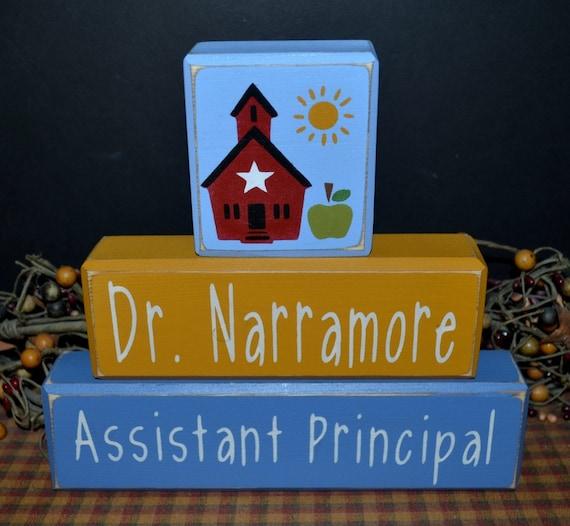 Assistant Principal custom personalized primitive wood blocks