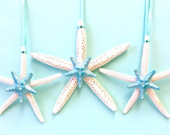 Beach Decor - 3 Starfish with Center Painted Starfish and Matching Ribbon - Natural/Star Fish/Mermaid Party/Wedding Decor/Christmas Ornament