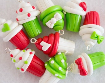 Red & Green Polymer Clay Cupcake Charms