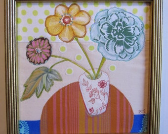 "Three Flowers in Vase, quilted still life in gold frame, 10"" square"
