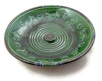 INCENSE BURNER Cat Bast Moon Spiral Handmade Ceramic Pottery